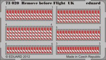 Remove before flight UK · EDU 73020 ·  Eduard · 1:72