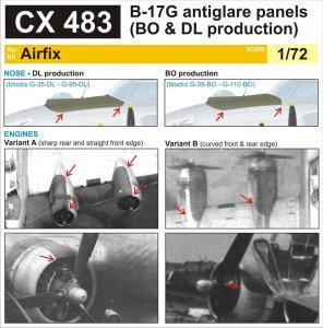 Boeing B-17G Flying Fortress - Antiglare panels (BO&DL produktion) [Airfix] · EDU CX483 ·  Eduard · 1:72