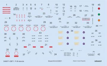 P-38 Lightning - Stencils [Tamiya] · EDU D48071 ·  Eduard · 1:48