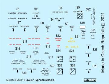 Hawker Typhoon - Stencils [Hasegawa] · EDU D48074 ·  Eduard · 1:48