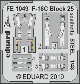 F-16C Block 25 - Seatbelts STEEL [Tamiya] · EDU FE1049 ·  Eduard · 1:48