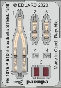 P-51D-5 Mustang - Seatbelts STEEL [Airfix] · EDU FE1075 ·  Eduard · 1:48