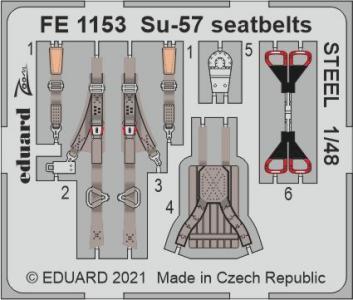 Sukhoi Su-57 - Seatbelts STEEL [Zvezda] · EDU FE1153 ·  Eduard · 1:48