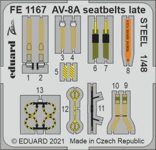 AV-8A Harrier - Seatbelts late STEEL [Kinetic Models] · EDU FE1167 ·  Eduard · 1:48