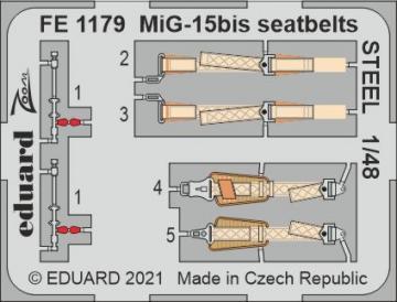MiG-15bis - Seatbelts STEEL [Bronco Models] · EDU FE1179 ·  Eduard · 1:48