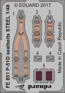 P-51D Mustang - Seatbelts STEEL [Meng Model] · EDU FE851 ·  Eduard · 1:48