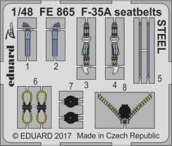 F-35A Lockheed Martin Lightning - Seatbelts STEEL [Meng Model] · EDU FE865 ·  Eduard · 1:48