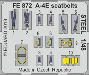 A-4E Sky Hawk - Seatbelts STEEL [HobbyBoss] · EDU FE872 ·  Eduard · 1:48