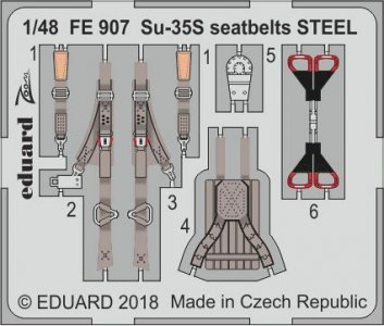 SU-35S Flanker E - Seatbelts STEEL [Great Wall Hobby] · EDU FE907 ·  Eduard · 1:48
