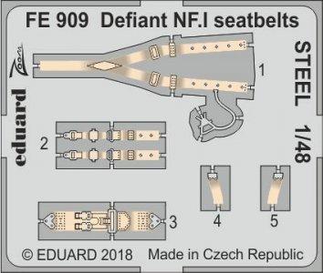 Boulton Paul Defiant NF.1 - Seatbelts STEEL [Airfix] · EDU FE909 ·  Eduard · 1:48