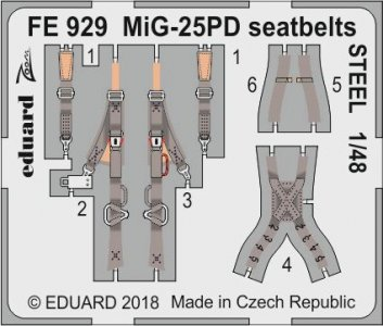 MiG-25PD - Seatbelts STEEL [ICM] · EDU FE929 ·  Eduard · 1:48