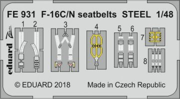 Lockheed Martin F-16C/N - Seatbelts STEEL [Tamiya] · EDU FE931 ·  Eduard · 1:48