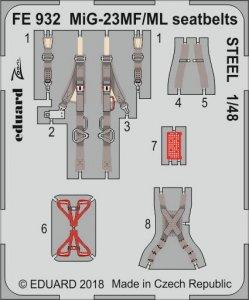 MiG-23MF/ML - Seatbelts STEEL [Trumpeter] · EDU FE932 ·  Eduard · 1:48