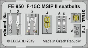 F-15C MSIP II - Seatbelts STEEL [Great Wall Hobby] · EDU FE950 ·  Eduard · 1:48
