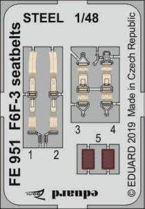 F6F-3 - Seatbelts STEEL [Eduard] · EDU FE951 ·  Eduard · 1:48
