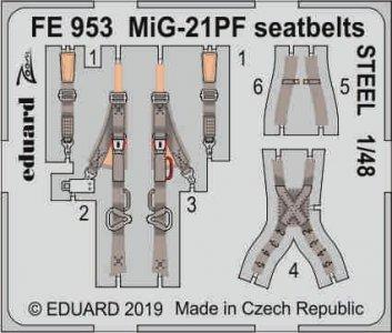 MiG-21PF - Seatbelts STEEL [Eduard] · EDU FE953 ·  Eduard · 1:48