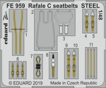 Dassault Rafale C - Seatbelts STEEL [Revell] · EDU FE959 ·  Eduard · 1:48
