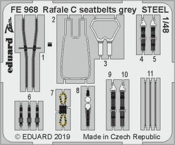 Dassault Rafale C - Seatbelts grey STEEL [Revell] · EDU FE968 ·  Eduard · 1:48