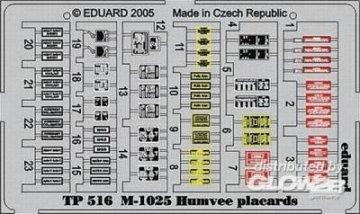 M-1025 Humvee - Placards · EDU TP516 ·  Eduard · 1:35