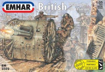 Britische WWI Artillery with 18 pdr gun · EM 3502 ·  Emhar · 1:35