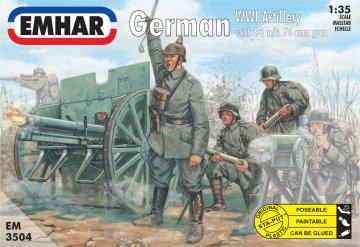Deutsche Artillerie 1. Weltkrieg mit 96 n/A 76 mm Kanone · EM 3504 ·  Emhar · 1:35