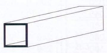 Quadratrohr, 35 cm lang, 4,8 mm Kantenl.-3/16. 3 Stück · EV 500253 ·  Evergreen