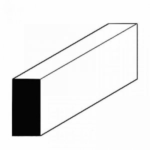 Vierkantprofile aus weißem Polystyrol, 600x1,0x9,5 mm, 10 Stück · EV 500351 ·  Evergreen