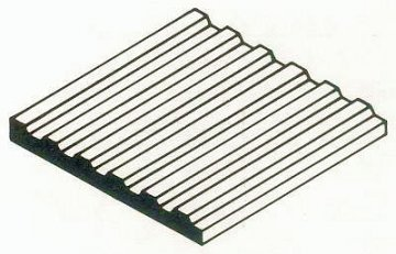 Trapezblech aus weißen Polystyrol, 1x150x300 mm, Raster 3,20 mm, 1 Stück · EV 504530 ·  Evergreen
