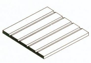 Strukturplatte aus weißem Polystyrol, 300x600x0,5 mm. V-Rille mit Raster 3,20 mm, 1 Stück · EV 512125 ·  Evergreen