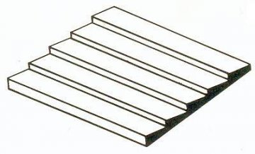 Bretter-Verschalung aus weißem Polystyrol, 300x600x1,0 mm, Raster 2,00 mm,  1 Stück · EV 514080 ·  Evergreen