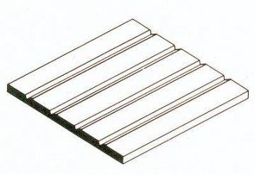 Strukturplatte aus weißem Polystyrol, 300x600x1,0 mm. V-Rille mit Raster 6,30 mm, 1 Stück · EV 514250 ·  Evergreen