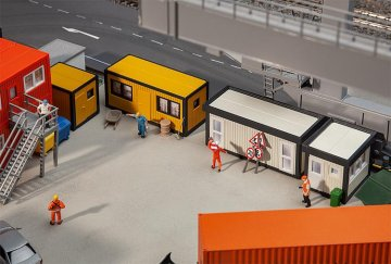 4 Baucontainer, gelb-schwarz · FAL 130136 ·  Faller · H0