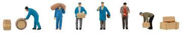 Speditionsarbeiter mit Paketen und Fässern · FAL 151609 ·  Faller · H0