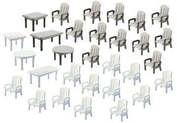 24 Gartenstühle und 6 Tische · FAL 180439 ·  Faller · H0