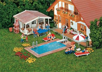 Swimming-Pool und Gartenhaus · FAL 180542 ·  Faller · H0