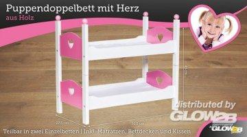 Puppen Doppelbett mit Herz · G2B 1000520 ·  Glow2B Spielwaren
