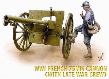 WWI French 75mm Cannon (with late War Crew) · HAT 8161 ·  HäT Industrie · 1:72