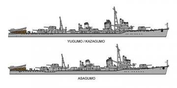IJN Yugumo, Kazagumo, Asagumo [3 Bausätze] · HG 630062 ·  Hasegawa · 1:700