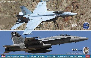 F/A 18 E Super Hornet & F/A 18C Hornet, USS Nimitz, 2 Bausätze · HG 652167 ·  Hasegawa · 1:72