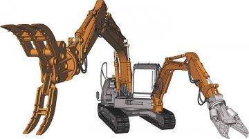 Hitachi Doppel-Arm-Arbeitsmaschine · HG 654004 ·  Hasegawa · 1:35