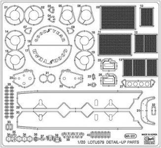 Etching Parts for Lotus 79Ätzteile für Bremsen, Logo usw. · HG 672143 ·  Hasegawa · 1:20