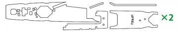 IJN Asashio Klasse, Bemalungsschablone f.Linoleum-Deck · HG 672171 ·  Hasegawa · 1:700
