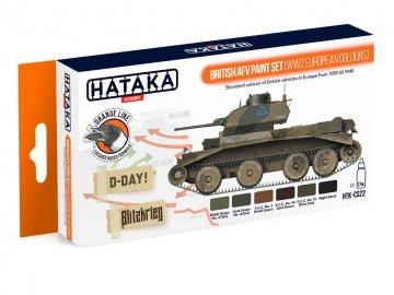 British AFV (WW2 European colours) - Orange Line Paint set (6 x 17ml) · HTK CS022 ·  Hataka