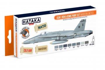 USAF. USN & USMC (modern greys) - Orange Line Paint set (8 x 17ml) · HTK CS044 ·  Hataka