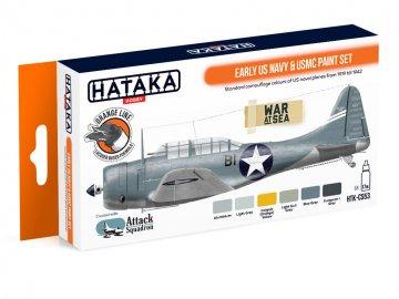 Early US Navy & USMC - Orange Line Paint set (6 x 17ml) · HTK CS053 ·  Hataka
