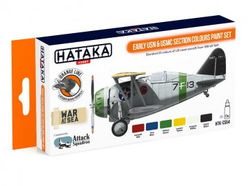 Early USN & USMC Section Colours - Orange Line Paint set (6 x 17ml) · HTK CS054 ·  Hataka