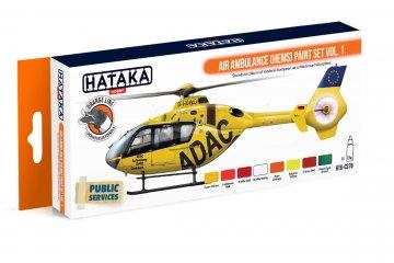 Air Ambulance (HEMS) Vol. 1 - Orange Line Paint set (8 x 17ml) · HTK CS076 ·  Hataka
