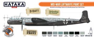 Mid-War Luftwaffe - Vol. 1 - Orange Line Paint set (8 x 17 ml) · HTK CS110 ·  Hataka