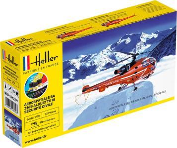 Alouette III Securite Civile - Starter Kit · HE 56289 ·  Heller · 1:72