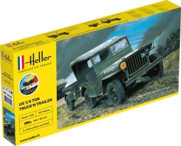 US 1/4 Ton Truck and Trailer - Starter Kit · HE 57105 ·  Heller · 1:35